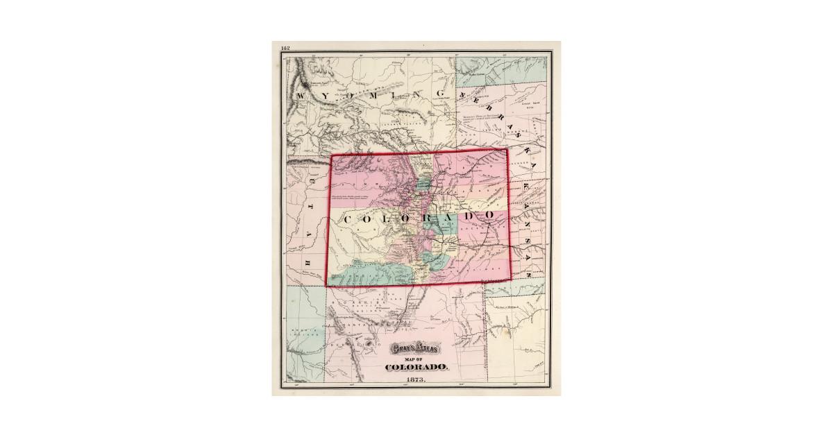 Vintage Map Of Colorado 1873 Colorado Map Kids T Shirt Teepublic