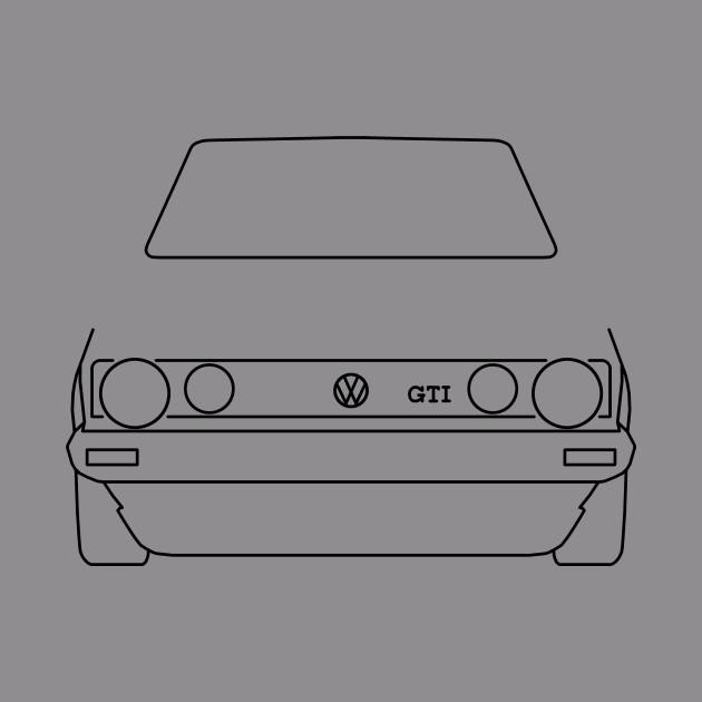 VW Golf GTI Mk 1 outline graphic (black)