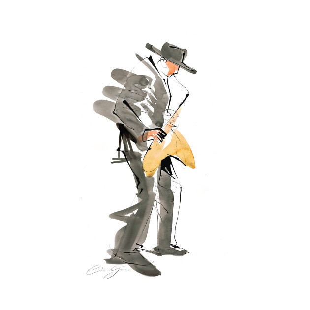 Saxophonist Musician Watercolor Drawing