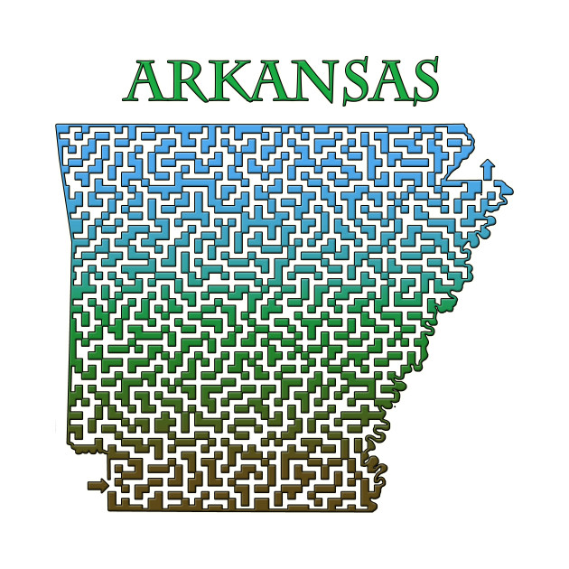State of Arkansas Colorful Maze
