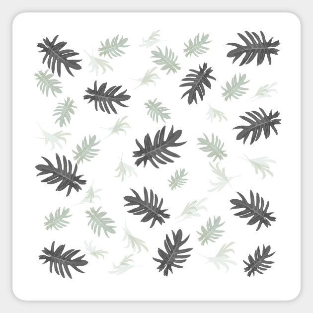 Autumn fall tropical palm leaves pattern blackwhite on white