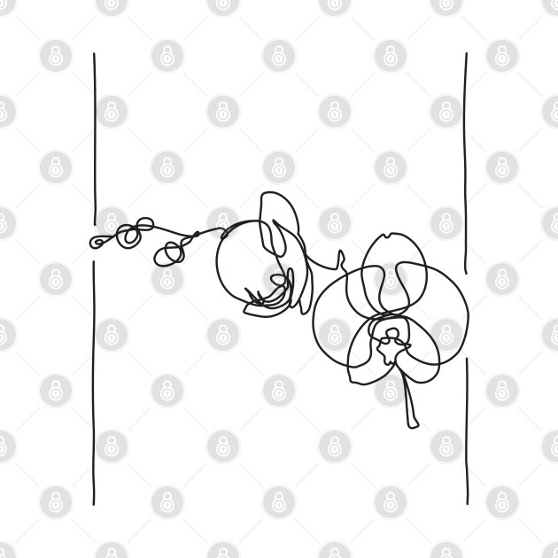 Orchid Flowers Line Drawing - Black