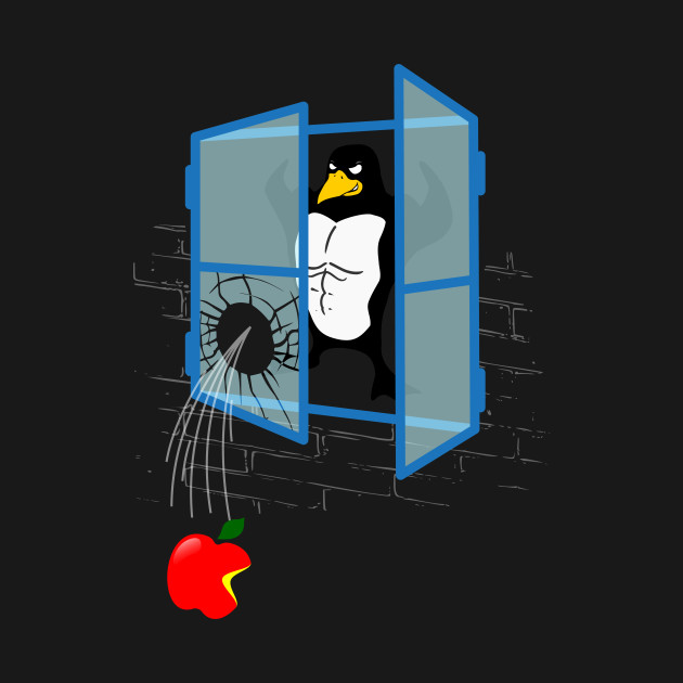 brawny linux penguin throws an apple thru the window linux tux