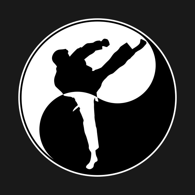 Yin Yang Karate Kick Adult Long Sleeve T-Shirt S-3XL
