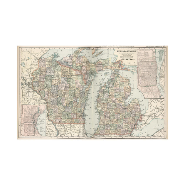 Michigan And Wisconsin Map.Vintage Map Of Michigan And Wisconsin 1891 Michigan And