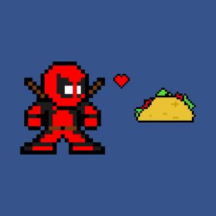 8-bit Deadpool Hearts Taco