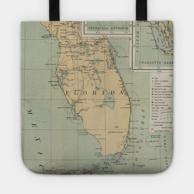 Vintage Lighthouse Map Of Florida 1898 Florida Lighthouse Map Tote Teepublic