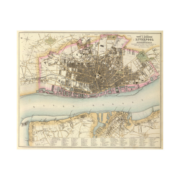 Vintage Map of Liverpool England (1872) - Liverpool Map - T-Shirt ...