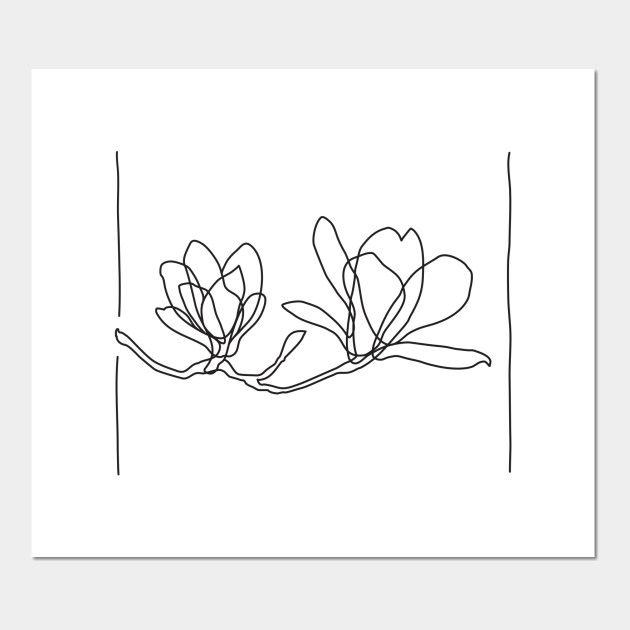Magnolia Flowers Line Drawing Black Magnolia Posters And Art