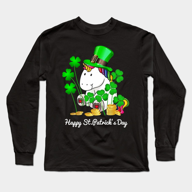 Unicorn Happy St. Patrick's Day Shirt Long Sleeve T-Shirt