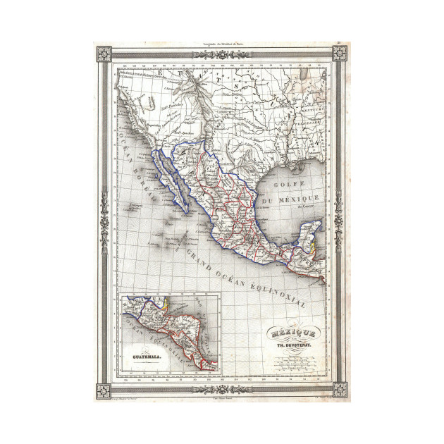 vintage map of mexico 1852 mexico map t shirt teepublic