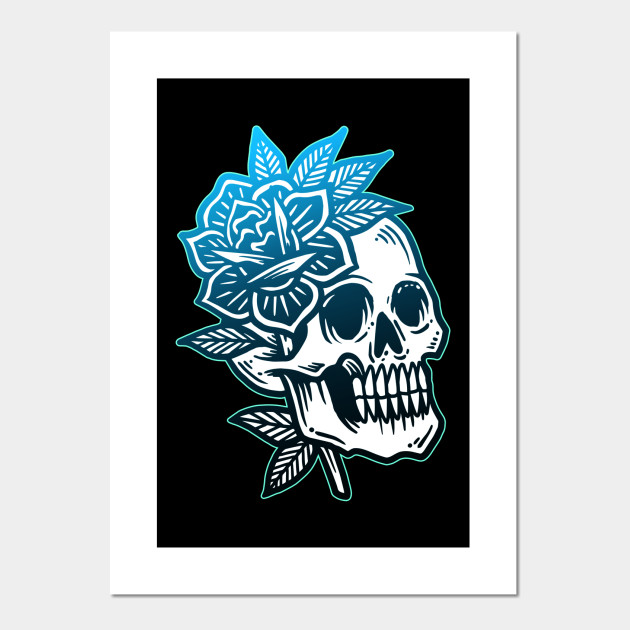 26468dba43146 Skull and Roses Vintage Tattoo Flash American Traditional - Vintage ...