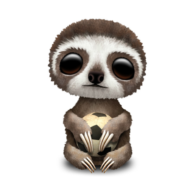 Cute Baby Sloth With Football Soccer Ball
