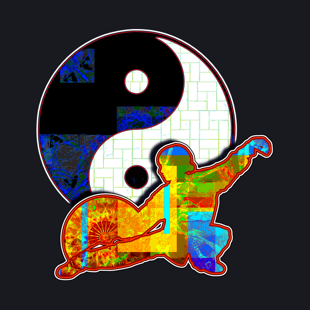 Tai Chi Fan Posture With Ying Yang Symbol
