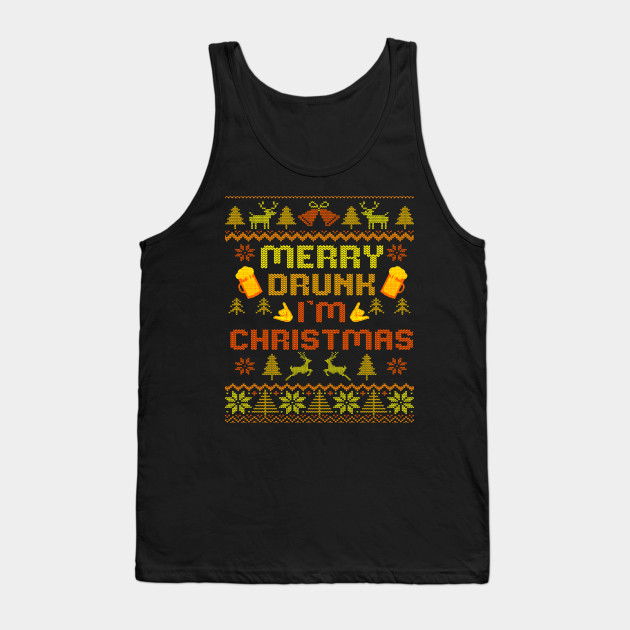 Merry Drunk Ugly Christmas Sweater christmas Tank Top