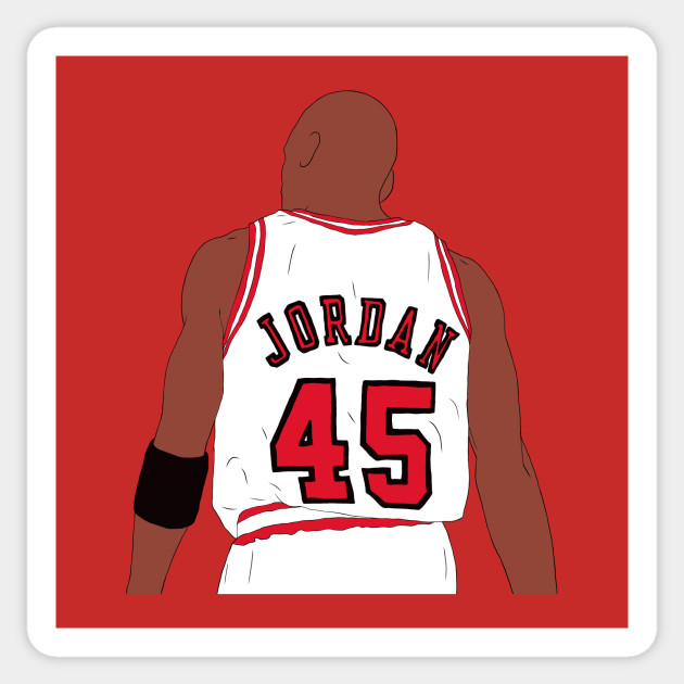 design intemporel e6bf9 da655 Michael Jordan 45 Back-To - Michael Jordan - Sticker   TeePublic