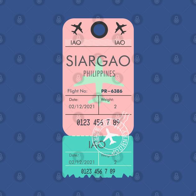 SIARGAO PHILIPPINES RETRO PLANE TICKET BAG TAG FILIPINO