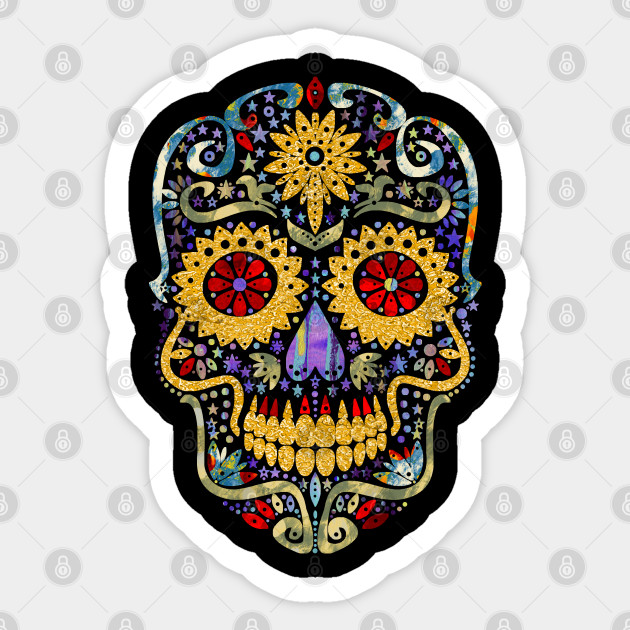 Gothic Day Of The Dead Stars Sugar Skull Gold Colors Sugar Skull Portrait Sticker Teepublic Au