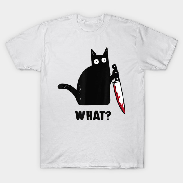 Cat What Funny Black Cat Shirt, Murderous Cat With Knife T-Shirt