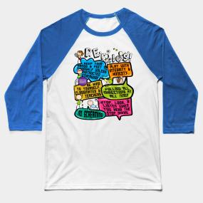 26c77406 Funny Colorful Doodle Physical Education P.E. Rules Baseball T-Shirt