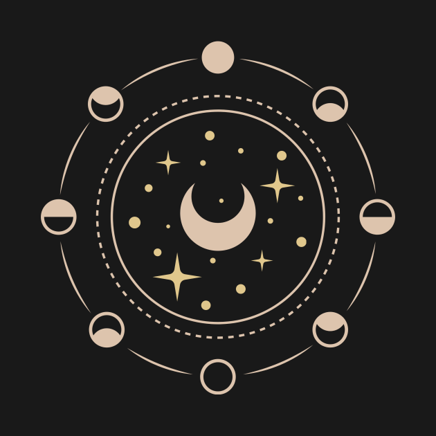 Minimalist line art astrology design with moon phases