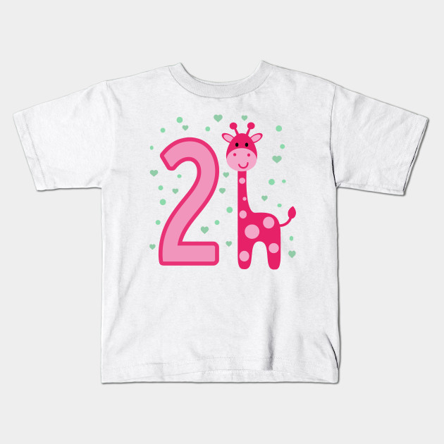 Second Birthday Girls Giraffe 2nd 2Girl Daughter Niece Cute Sweet Year Old Kids T Shirt