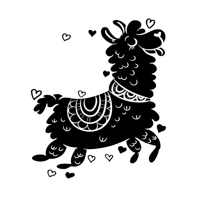 Llama Alpaca design with hearts