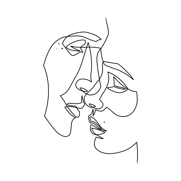 One Line Art Faces : Lovers drawing in one line t shirt teepublic