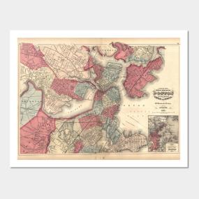 Boston Map Posters And Art Prints Teepublic