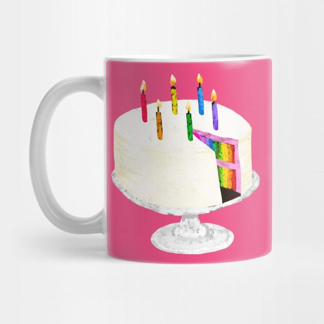 Rainbow Birthday Cake Rainbow Cake Mug Teepublic