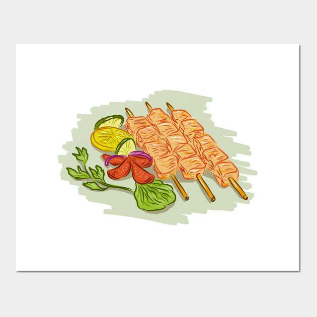Chicken Kebabs Vegetables Drawing
