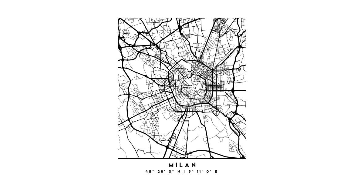 MILAN ITALY BLACK CITY STREET MAP ART - Milan - T-Shirt | TeePublic