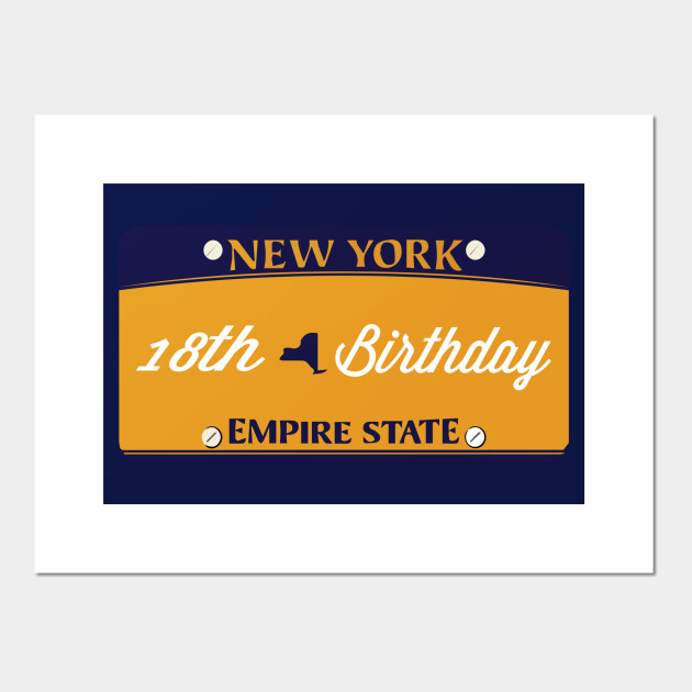 NEW YORK LICENSE PLATE 18th Birthday Gift Girl Daughter Sister Girlfriend