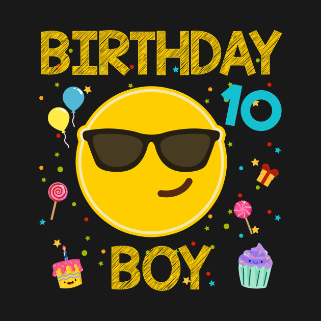 Kids Emoji 10th Birthday Boy T-Shirt Fun 10 Years Old Gift