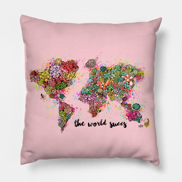 The World Succs ( Succulent World Map Rose Gold )