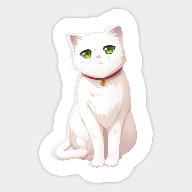 Cat Cute Anime Kitten Design White Cat Cat Cute Kitten Anime Cat Cute Anime Sticker Teepublic Uk