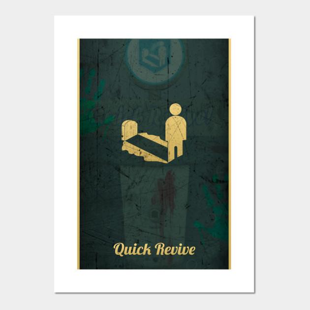Quick Revive Poster Call Of Duty Zombies Affiche Et Impression D Art Teepublic Fr