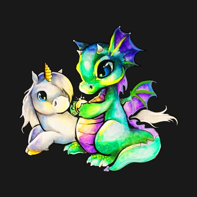 Unicorn and Dragon Awesome Graphic T shirt