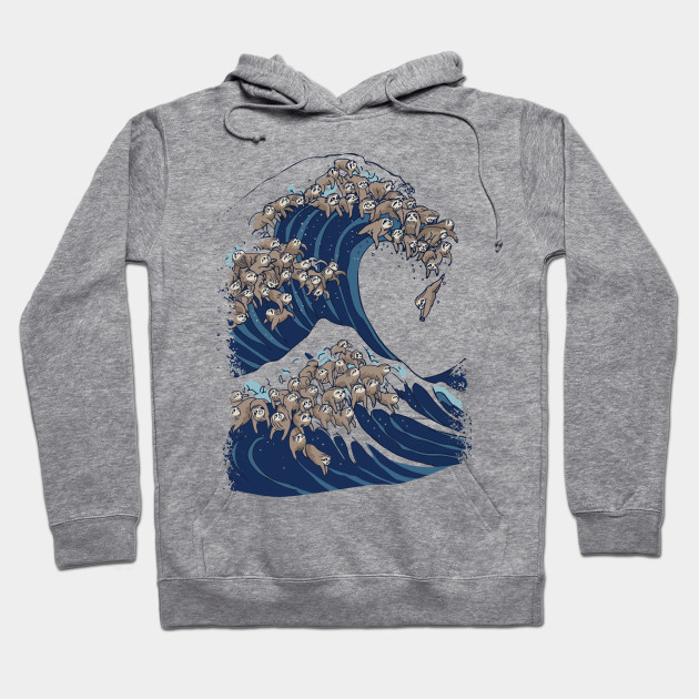 67d8a69f1 The Great Wave of Sloths - Sloth - Hoodie   TeePublic