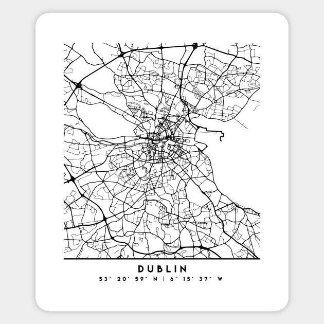 Street Map Of Ireland.Dublin Ireland Black City Street Map Art