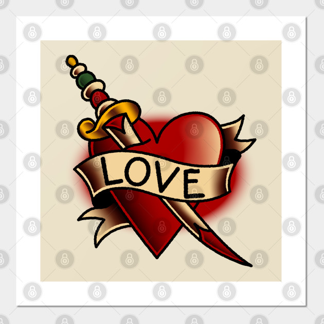 American Traditional Love Heart Banner Tattoo Tattoo Posters And Art Prints Teepublic
