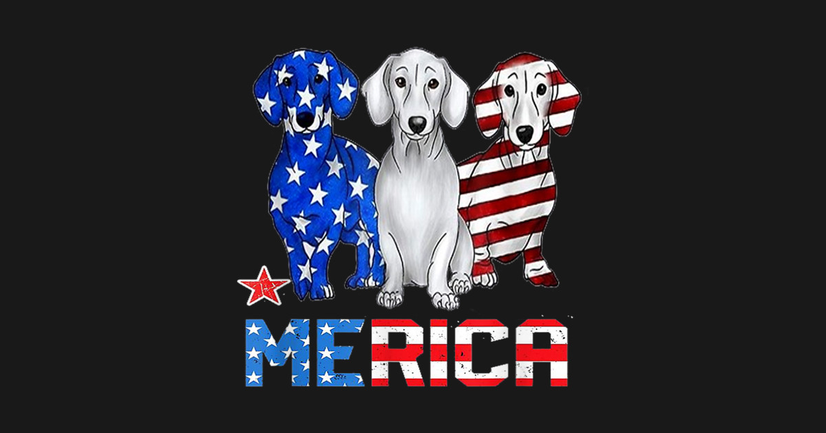 4a3587dd0a Dachshund dog Merica American Flag Patriot 4th Of July shirt T-Shirt