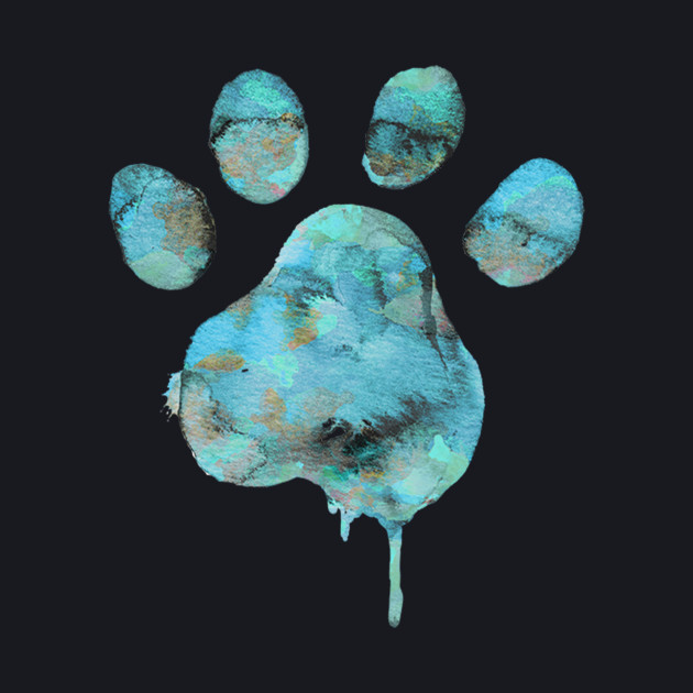 Watercolor Paw - Blue