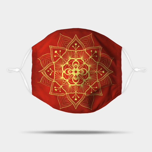 Gold and Red Floral Mandala