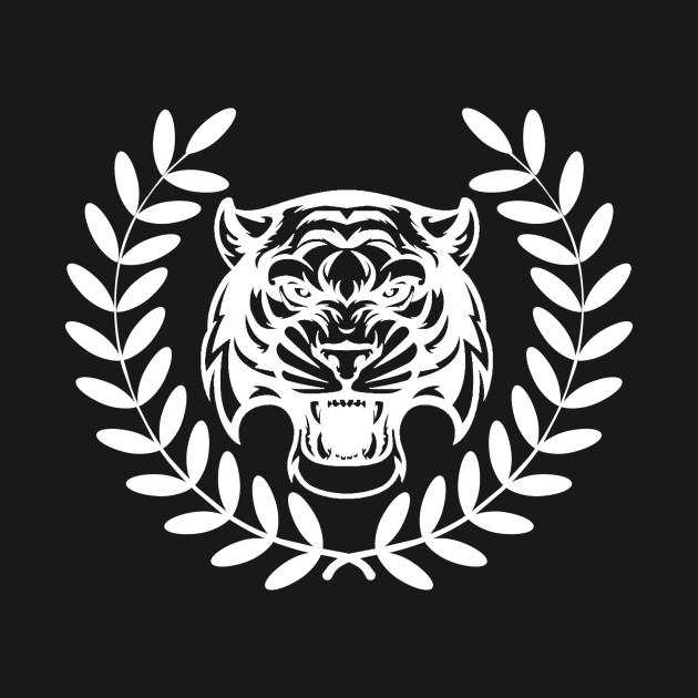 Roaring Tiger Head Art Design Victory Laurel Wreath