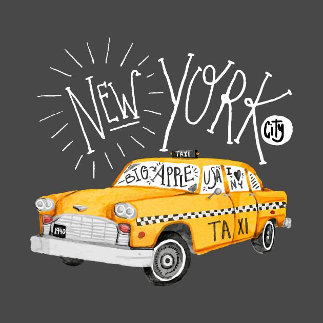 New York - Big Apple - yellow cab taxi T-Shirt