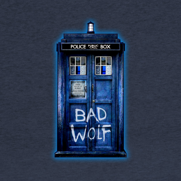 Blue Phone booth with Bad wolf grafitti