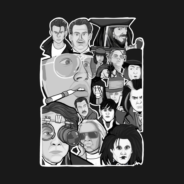 Johnny Depp Character Collage Movies T Shirt Teepublic
