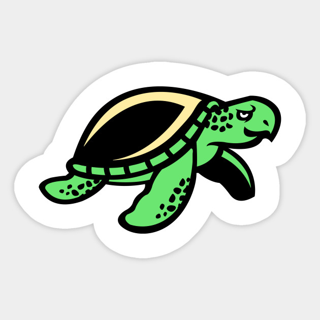 Green Chill Turtle Logo Turtle Sticker Teepublic