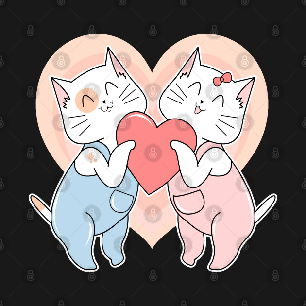 Cute Cat Couples In Love, Cute and Unique Valentines Day Gift
